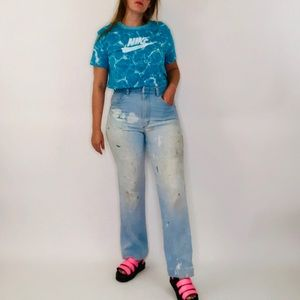 Vintage Wrangler High Rise Painters Straight Jeans